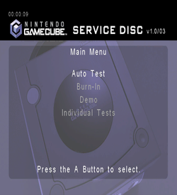 Nintendo GameCube Service Disc Version 1.0 03